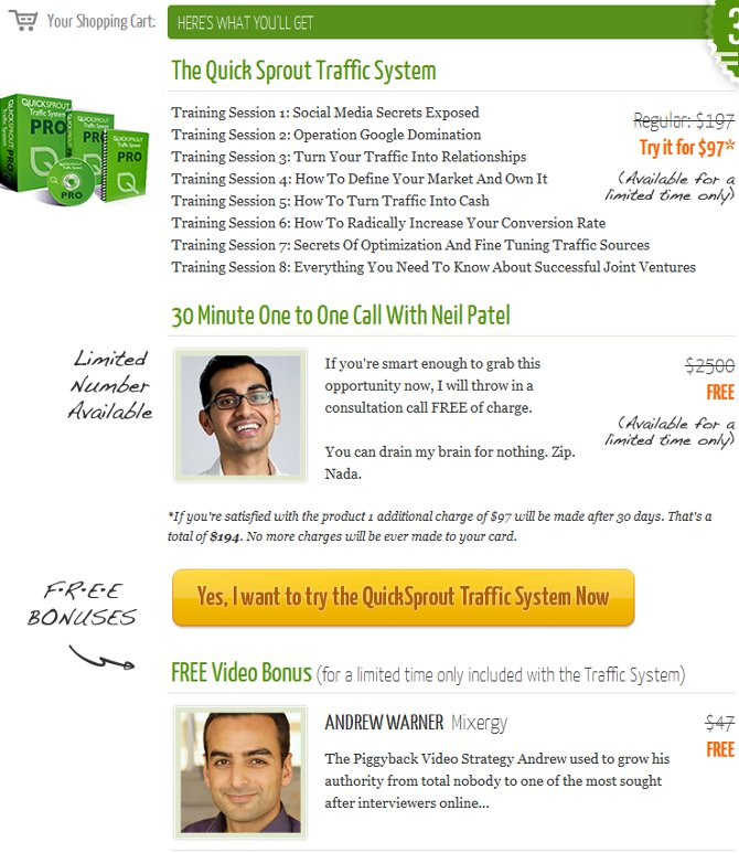 Look at all the stuff you get when you buy the Quick Sprout Traffic System from Neil Patel. In addition, it's heavily discounted, and there's a *limited* number of consultations with Neil
