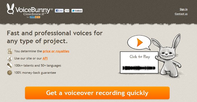 VoiceBunny features a high contrast, big bright-orange CTA button. They also tell you what you get if you click: a voiceover recording (and quick!)