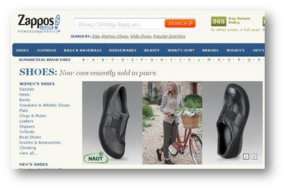 Zappos shoes Minimum Viable Product